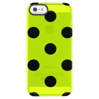 Polka Dots Huge - Black on Fluorescent Yellow Clear iPhone SE/5/5s Case