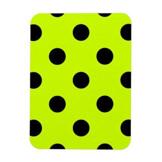 Polka Dots Huge - Black on Fluorescent Yellow Rectangular Photo Magnet