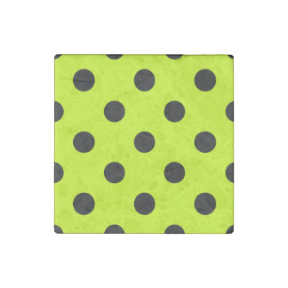 Polka Dots Huge - Black on Fluorescent Yellow Stone Magnets
