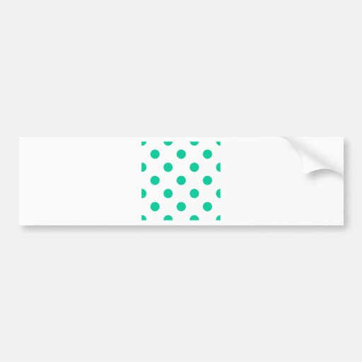 Polka Dots Huge - Caribbean Green on White Bumper Sticker
