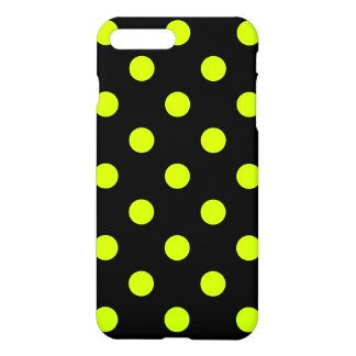 Polka Dots Huge - Fluorescent Yellow on Black iPhone 7 Plus Case