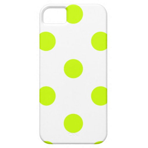 Polka Dots Huge - Fluorescent Yellow on White Cover For iPhone 5/5S