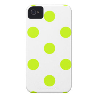 Polka Dots Huge - Fluorescent Yellow on White iPhone 4 Covers