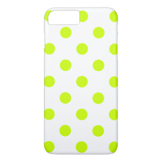 Polka Dots Huge - Fluorescent Yellow on White iPhone 7 Plus Case