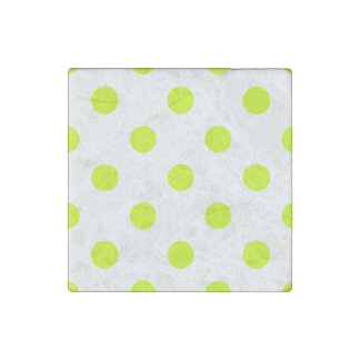 Polka Dots Huge - Fluorescent Yellow on White Stone Magnets