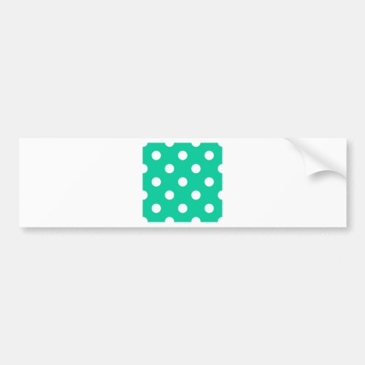 Polka Dots Huge - White on Caribbean Green Bumper Stickers