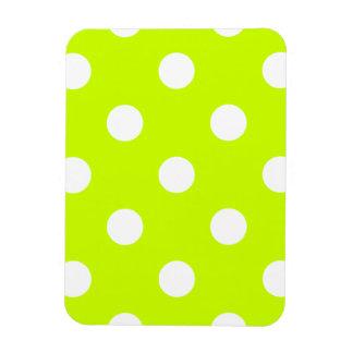Polka Dots Huge - White on Fluorescent Yellow Rectangular Photo Magnet