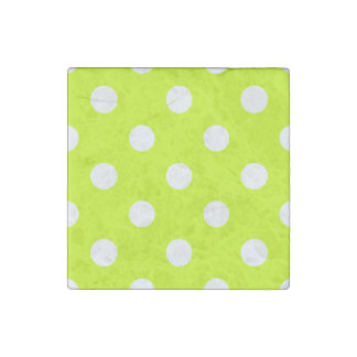 Polka Dots Huge - White on Fluorescent Yellow Stone Magnets