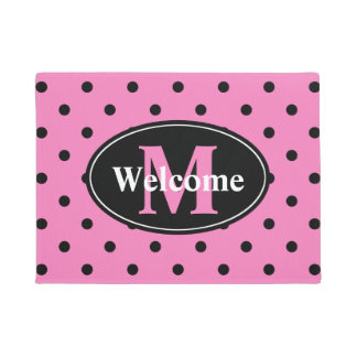 Polka Dots in Pink and Black Personalized Doormat