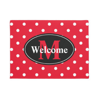 Polka Dots in Red and White Personalized Doormat
