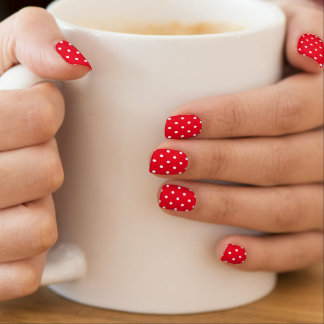 Polka Dots in White and Red Minx Nail Art