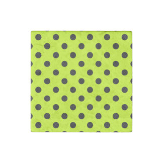 Polka Dots Large - Black on Fluorescent Yellow Stone Magnet