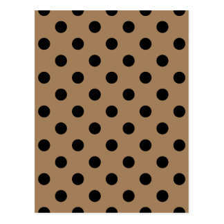 Polka Dots Large - Black on Pale Brown Postcard