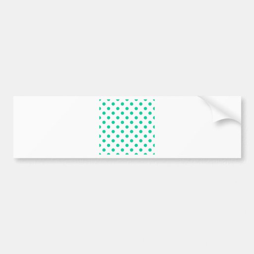 Polka Dots Large - Caribbean Green on White Bumper Stickers