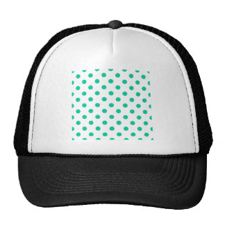 Polka Dots Large - Caribbean Green on White Trucker Hat