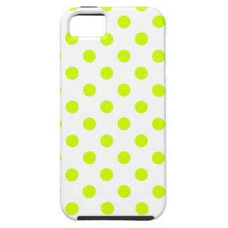 Polka Dots Large - Fluorescent Yellow on White iPhone 5 Cover