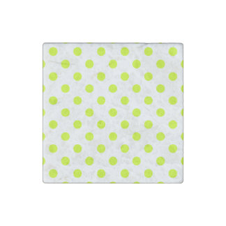Polka Dots Large - Fluorescent Yellow on White Stone Magnet