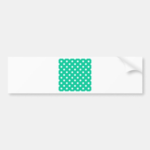 Polka Dots Large - White on Caribbean Green Bumper Sticker