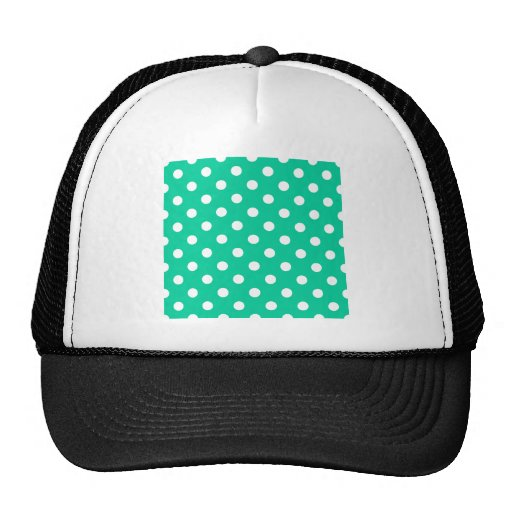 Polka Dots Large - White on Caribbean Green Trucker Hats