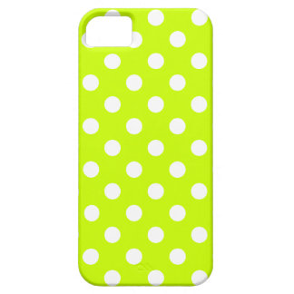 Polka Dots Large - White on Fluorescent Yellow iPhone 5 Cases