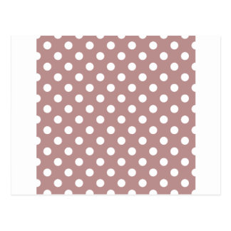 Polka Dots Large - White on Rosy Brown Postcard