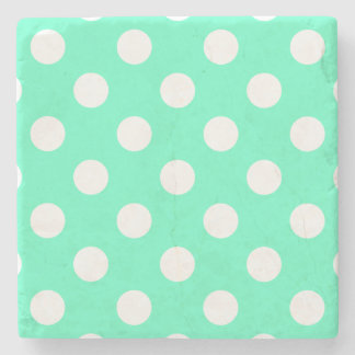 Polka Dots Mint Green Stone Beverage Coaster