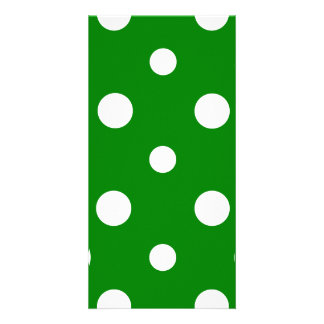 Polka Dots Mixed II - White on Green Custom Photo Card