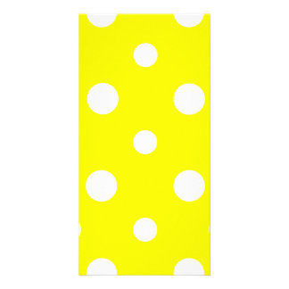 Polka Dots Mixed II - White on Yellow Custom Photo Card