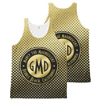 Polka Dots Monogram Gold Glitter Black Modern All-Over-Print Tank Top