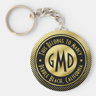 Polka Dots Monogram Gold Glitter Black Modern Basic Round Button Keychain