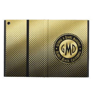 Polka Dots Monogram Gold Glitter Black Modern Cover For iPad Air