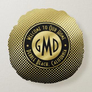Polka Dots Monogram Gold Glitter Black Modern Round Pillow