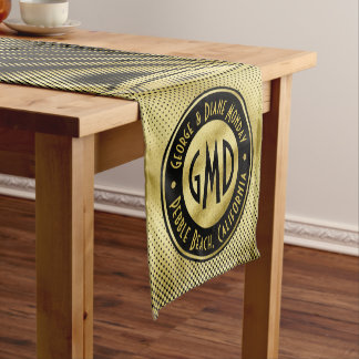 Polka Dots Monogram Gold Glitter Black Modern Short Table Runner