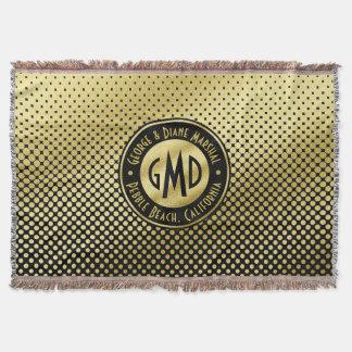 Polka Dots Monogram Gold Glitter Black Modern Throw Blanket