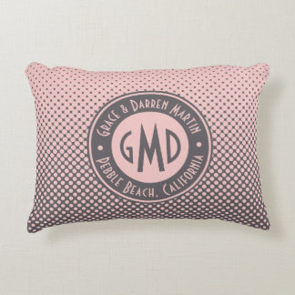 Polka Dots Monogram Millennial Pink Gray Trendy Accent Pillow