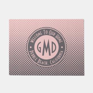 Polka Dots Monogram Millennial Pink Gray Trendy Doormat