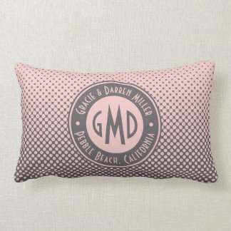 Polka Dots Monogram Millennial Pink Gray Trendy Lumbar Pillow