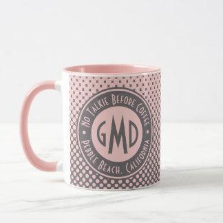 Polka Dots Monogram Millennial Pink Gray Trendy Mug