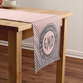 Polka Dots Monogram Millennial Pink Gray Trendy Short Table Runner