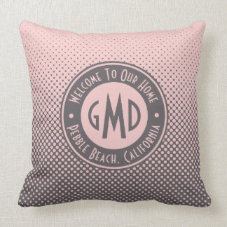 Polka Dots Monogram Millennial Pink Gray Trendy Throw Pillow