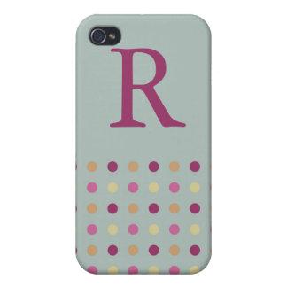 Polka Dots Monogram Speck Case iPhone 4 Cases