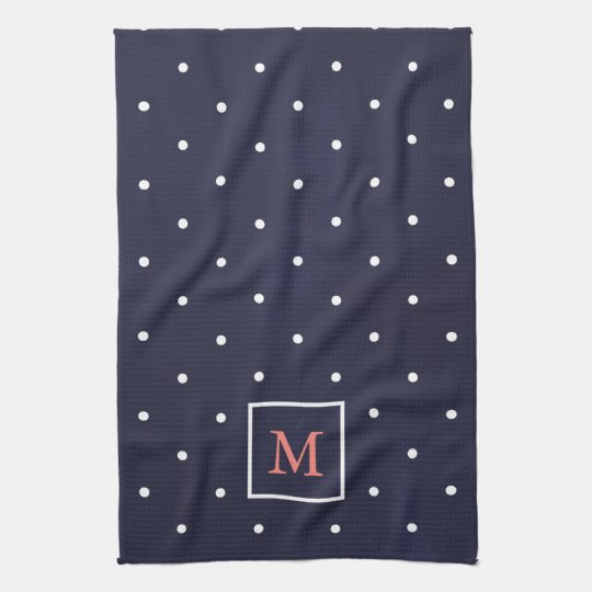 Polka Dots on Deep Blue | Coral Monogram Kitchen Towels