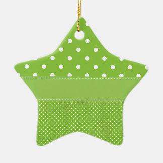 polka-dots on green ceramic ornament