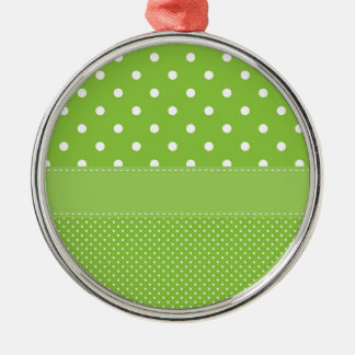 polka-dots on green metal ornament