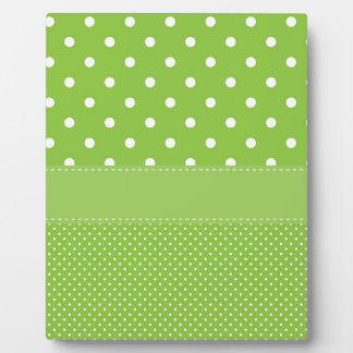 polka-dots on green plaque