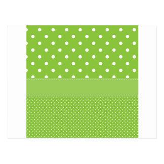 polka-dots on green postcard