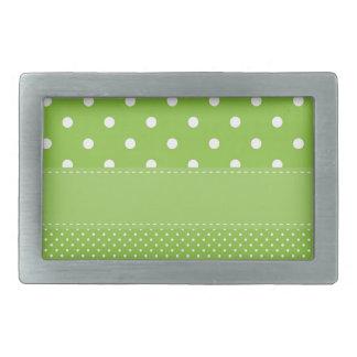 polka-dots on green rectangular belt buckle