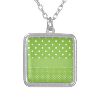 polka-dots on green silver plated necklace