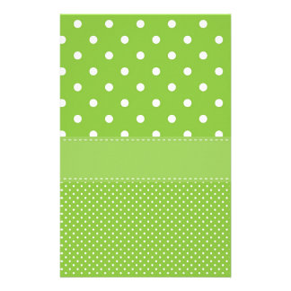 polka-dots on green stationery