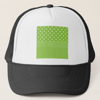 polka-dots on green trucker hat